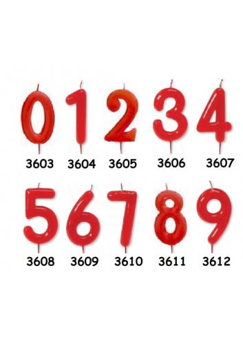 Velas rojas de número (UNIDAD)